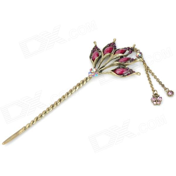 Retro Lily Hairpin - Purple + Bronze-colored
