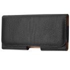 Lichee Pattern Protective PU Leather Case w/ Waist Clip for Samsung Galaxy Note 2 - Black