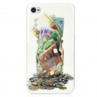 Cash + Coins + Money Can Pattern Protective PC Hard Back Case for Iphone 4 / 4S - White