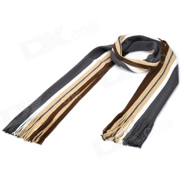 Strip Pattern Yarn Warming Scarf - Black + White + Brown