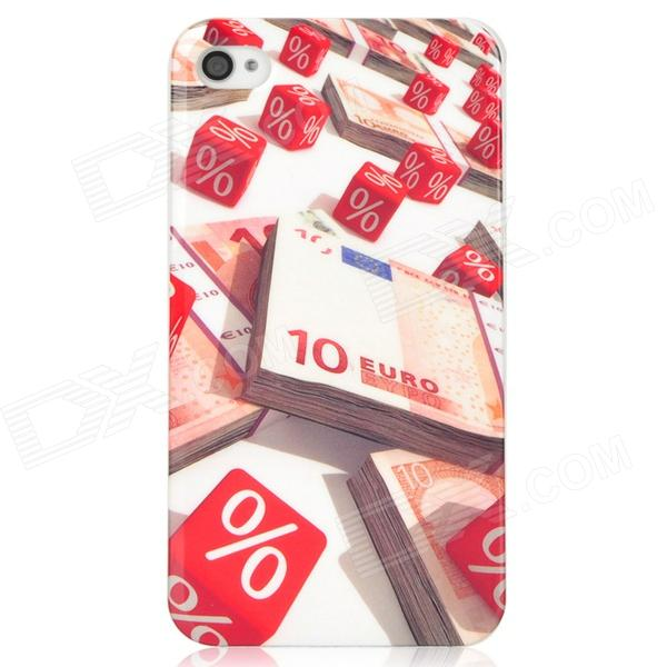 10 EURO Paper Money Pattern Protective PC Back Case for Iphone 4 / 4S - White + Red