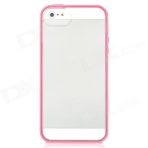 Protective TPU + PC Back Case for Iphone 5 - Pink + Transparent protective noctilucent tpu pc back case for iphone 5 red transparent