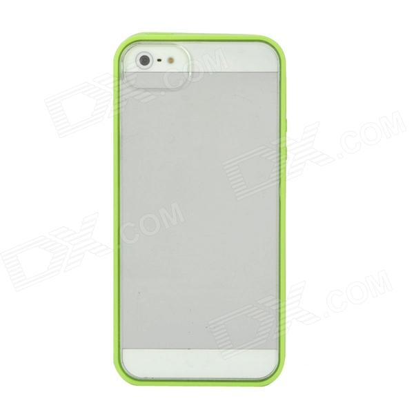 Protective TPU + PC Back Case for Iphone 5 - Green + Transparent protective noctilucent tpu pc back case for iphone 5 red transparent