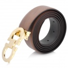 202 Fashion Men's Cow Leather Belt w/ Copper Alloy Buckle - Brown + Golden