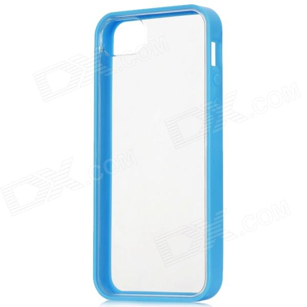Protective TPU + PC Hard Back Case for Iphone 5 - Blue + Transparent protective noctilucent tpu pc back case for iphone 5 red transparent