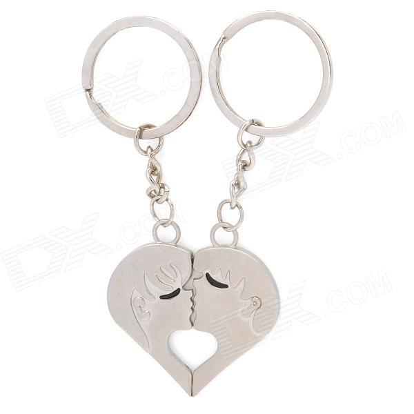 Lovers Kiss Zinc Alloy Keychain - Silver (Pair) lovers playing golf zinc alloy keychains silver pair