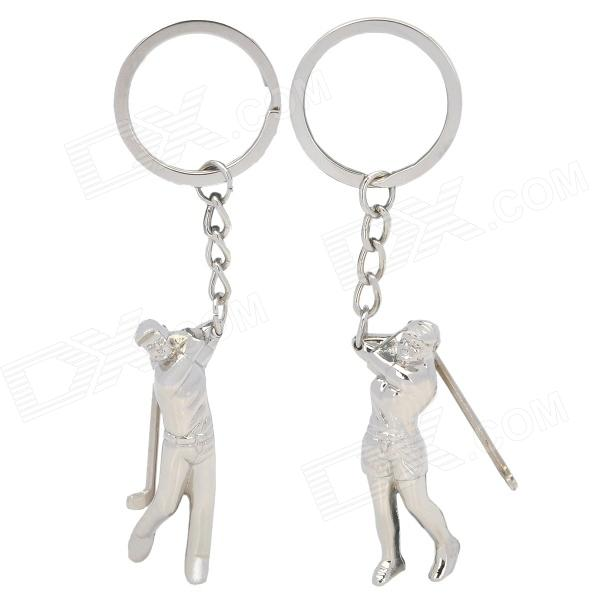 Lovers Playing Golf Zinc Alloy Keychains - Silver (Pair) lovers playing golf zinc alloy keychains silver pair