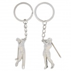 Lovers Playing Golf Zinc Alloy Keychains - Silver (Pair)