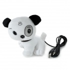 USB Cute Plush Dog Style 12MP PC Camera Webcam w/ Microphone - White + Black