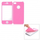 Protective Front + Back Skin Protector Sticker for Iphone 4 / 4S - Deep Pink