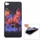 Protective Front Screen Protector + Back 3D Wolf Pattern Skin Sticker for Iphone 4 / 4S