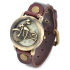 FG-1012M Motorcycle Style Flip-shell Leather Band Quartz Wrist Watch for Women - Coffee (1 x LR626)