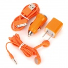 4-in-1 Car Cigarette Powered Charging Adapter for iPhone 3 / 3GS/ 4 / 4S / iPad - Orange