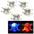 Cute Skull Style 3-LED Red Blue Light Plastic Brooches (5 PCS / 3 x AG3)