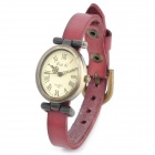 Retro Style Cow Leather Band Lady's Quartz Analog Wrist Watch - Claret-red (1 x 377)