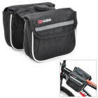 KUGAI 12009 Cycling Bicycle Front Saddle 420D + Polyester Net Double Storage Bag - Black