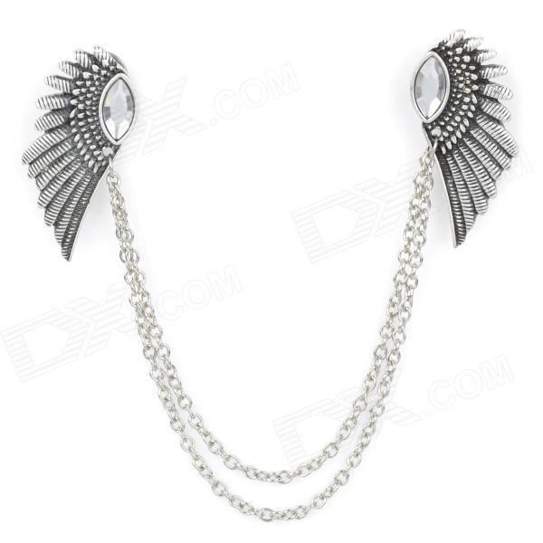 Elegant Wing Style Zinc Alloy Shirt Collar Tips Necklace - Silver
