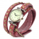 SL-1006R Women's Leather Three Circles Band Analog Quartz Wrist Watch - Red + Bronze (1 x LR626)