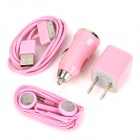 4-in-1 Car Cigarette Powered Charging Adapter for iPhone 3 / 3GS/ 4 / 4S / iPad - Pink