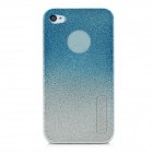 BASEUS Protective Engraving Flower Side Shining Back Case for iPhone 4 / 4S - Silver + Blue