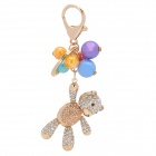 SALY-43126 Multi-color Balls Decoration Shining Rhinestone Bear Zinc Alloy Keychain