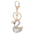 SALY-43132 Cute Shining Rhinestone Swan Princess Zinc Alloy Keychain - Golden + White