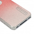 BASEUS Protective Engraving Flower Side Shining Back Case for iPhone 4 / 4S - Silver Red
