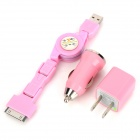 3-in-1 Car Cigarette Powered Charging Adapter for iPhone 3 / 3GS/ 4 / 4S / iPad - Pink 