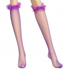 Super Sexy Mesh Tights Grid Lace + Nylon Socks - Purple (Pair)