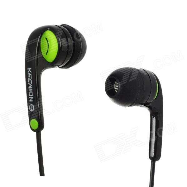 KDM-S11 Stereo In-Ear Earphone - Black + Green (3.5mm jack / 143cm) fashionable protective bumper frame case with bowknot for samsung galaxy s3 i9300 black