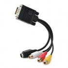 VGA to S-Video 3 RCA Composite AV Converter Adapter Cable - Black