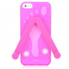 Cute Slippers Flip Flops Style Protective TPU Soft Back Case for Iphone 5 - Deep Pink