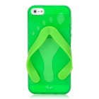 Cute Slippers Flip Flops Style Protective TPU Soft Back Case for Iphone 5 - Green