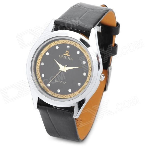 62045 Fashion Men's PU Leather Band Quartz Analog Wrist Watch - Black (1 x 377)