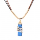 Sparkling Sapphire Blue Crystal Pendant Necklace for Women - Golden + Black