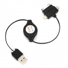 Retractable USB 2.0 to Micro USB / iPhone 8-Pin Lightning / iPhone 30pin Charging Cable - Black
