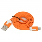 USB to 8-Pin Lightning Flat Charging Cable for iPhone 5 / iPad Mini / iPad 4 - Orange (103cm)
