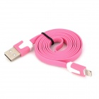 USB to 8-Pin Lightning Flat Charging Cable for iPhone 5 / iPad Mini / iPad 4 - Pink (103cm)