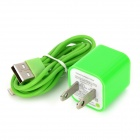 AC Power Adapter Charger + USB Sync Data / Charging Lightning Cable Set for iPhone 5 - Green