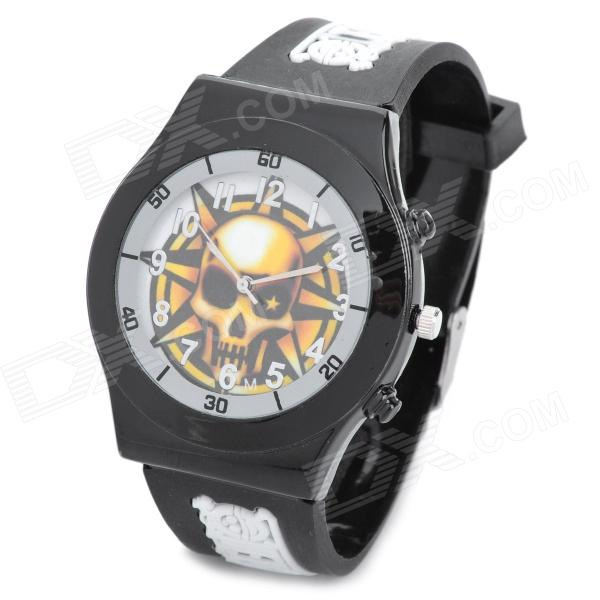 Skull Style Men's Silicone Band Quartz Analog Wrist Watch - Black + White (1 x 377) european fashion creative chandelier modern simple bullet gold plated dining room bedroom living room small hanging lamp