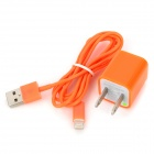 AC Power Adapter Charger + USB Sync Data / Charging Lightning Cable Set for iPhone 5 - Orange