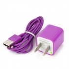 AC Power Adapter Charger + USB Sync Data / Charging Lightning Cable Set for iPhone 5 - Purple