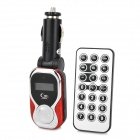 "1.0"" LCD Car MP3 Player FM Transmitter w/ Remote Controller - Red + Silver + Black"