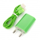 USB Data / Charging 8-pin Lightning Cable + EU Plug Power Adapter Set for iPhone 5 - Green