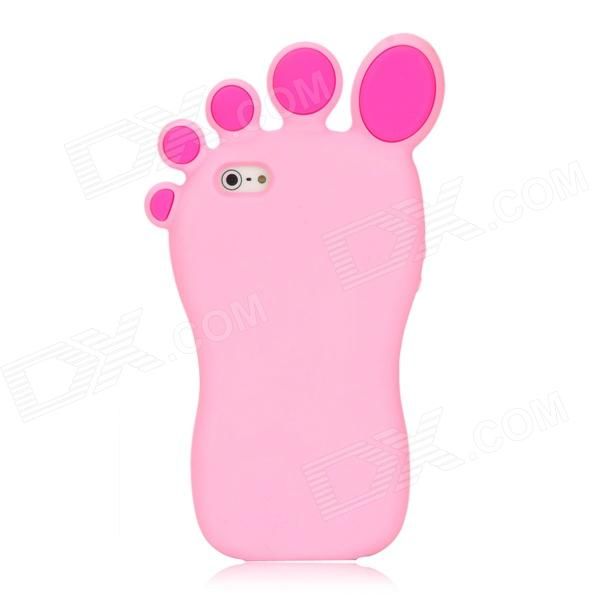 DJY Cute Foot Shape Protective Silicone Soft Back Case for your Iphone 5 - Pink cute marshmallow style silicone back case for iphone 5 5s yellow white