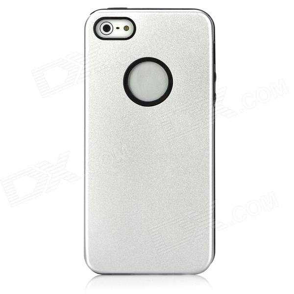 Double Layers Protective Plastic Hard + Silicone Soft Back Case for Iphone 5 - Silver + Black