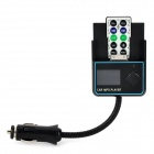 "1.4"" LCD Car MP3 Player FM Transmitter w/ SD / TF / USB Slots for Iphone 4 / 4S - Black + Blue"
