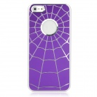 Spider Web Style Protective Aluminum Alloy + PC Back Case for Iphone 5 - Purple
