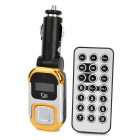 "8802 0.9"" LCD Car MP3 Player FM Transmitter w/ Remote Controller - Golden + Silver (12~24V)"
