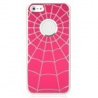 Spider Web Style Protective Aluminum Alloy + PC Back Case for Iphone 5 - Deep Pink